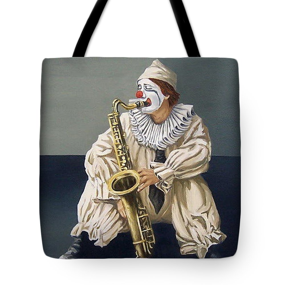 Clown Figurative Portrait People Tote Bag featuring the painting Clown by Natalia Tejera