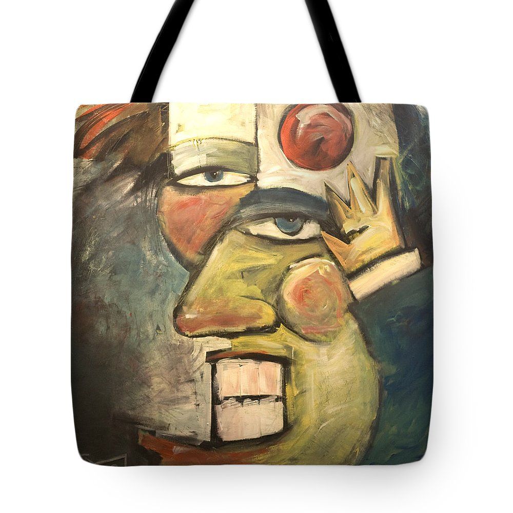 Clown Tote Bag featuring the painting Clown Painting by Tim Nyberg