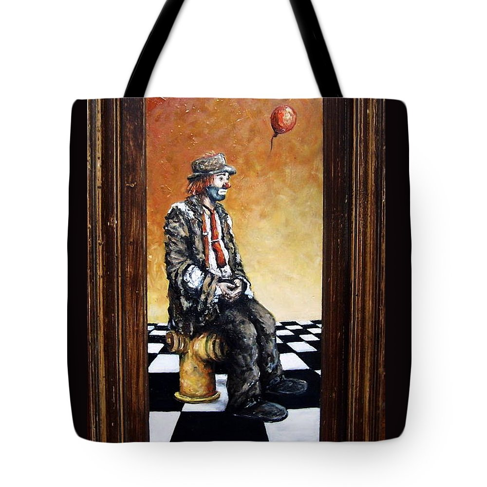 Clown Man Figurative Figure Human Surrealism Chess Emotion Tote Bag featuring the painting Clown S Melancholy by Natalia Tejera