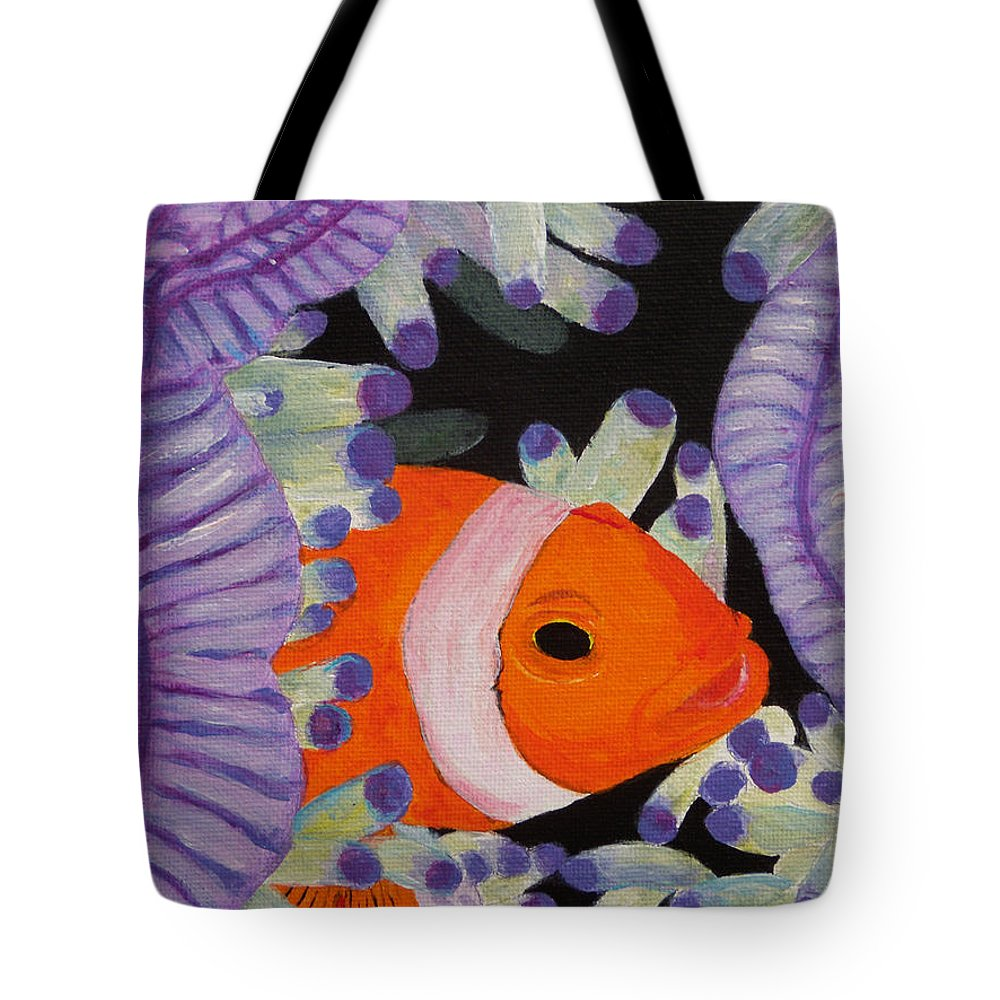 Fish Tote Bag featuring the painting Clownfish by Anne Marie Brown