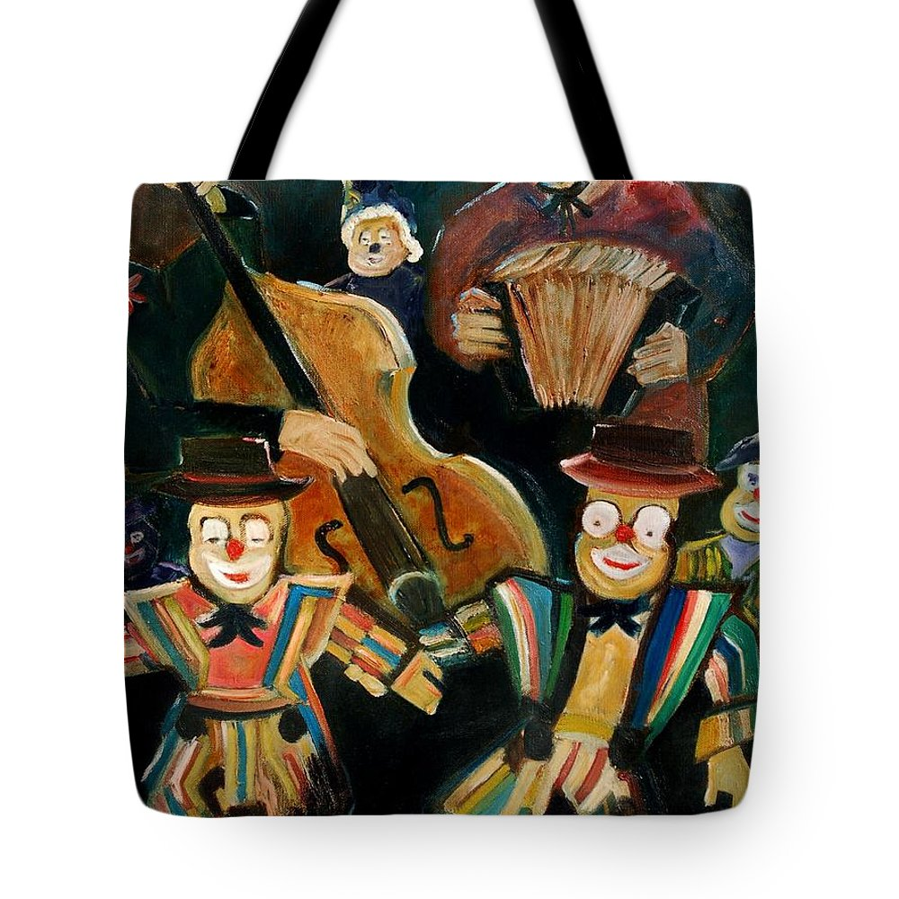 Clowns Circus Tote Bag featuring the print Clowns by Pol Ledent