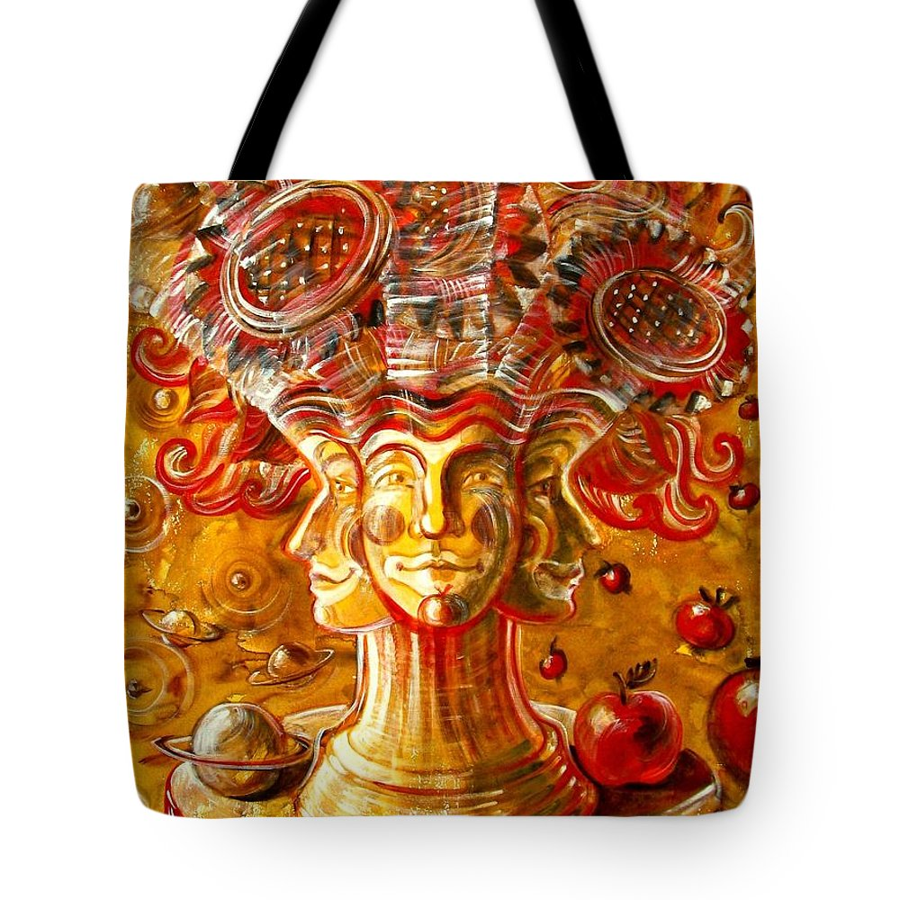 Inga Vereshchagina Tote Bag featuring the painting Clowns With Sunflowers by Inga Vereshchagina