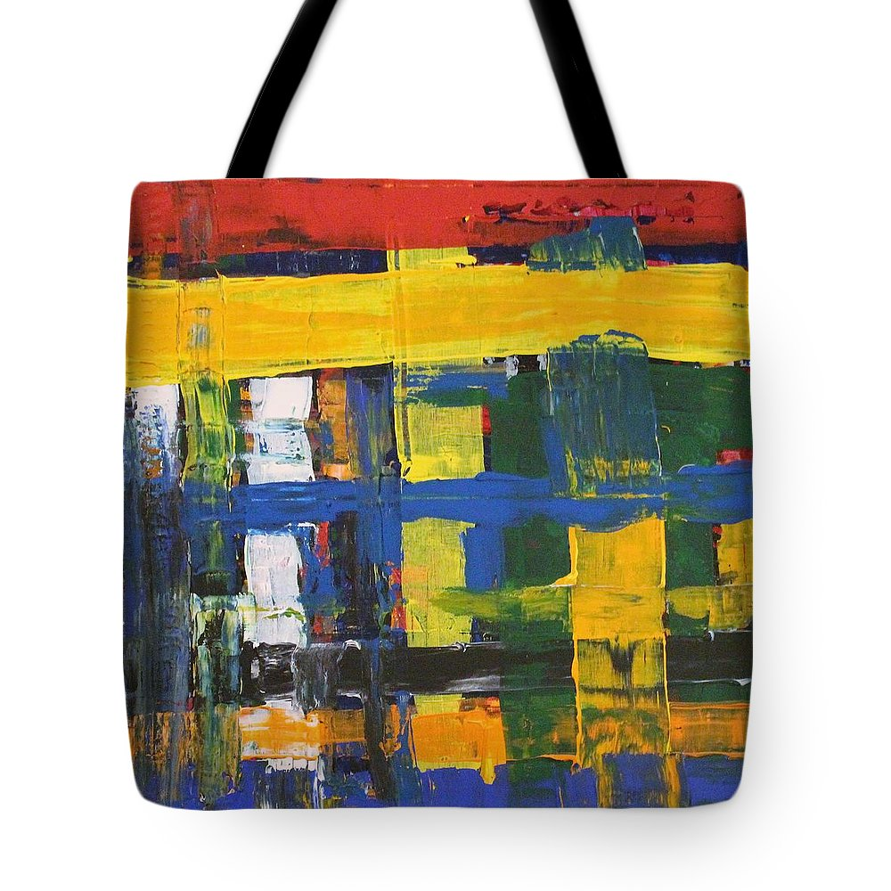 Red Tote Bag featuring the painting Club House by Pam Roth O'Mara