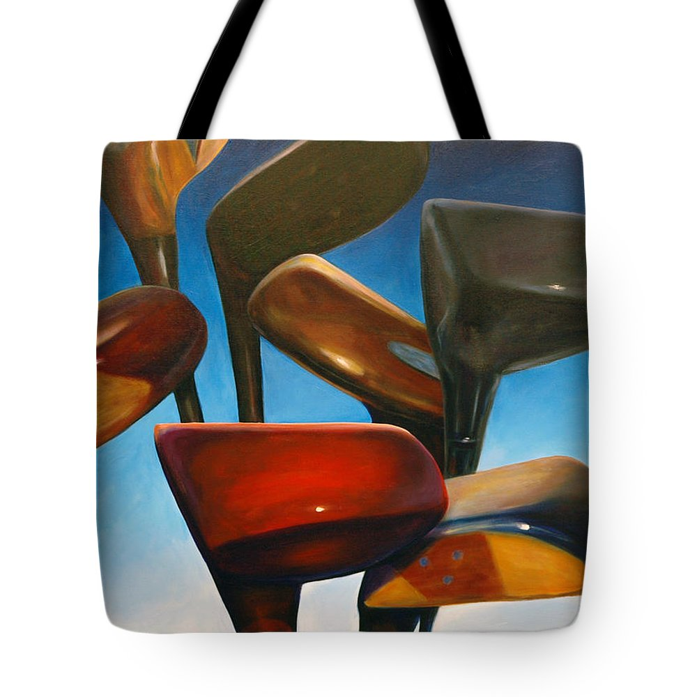Golf Clubs Brown Tote Bag featuring the painting Clubs Rising by Shannon Grissom