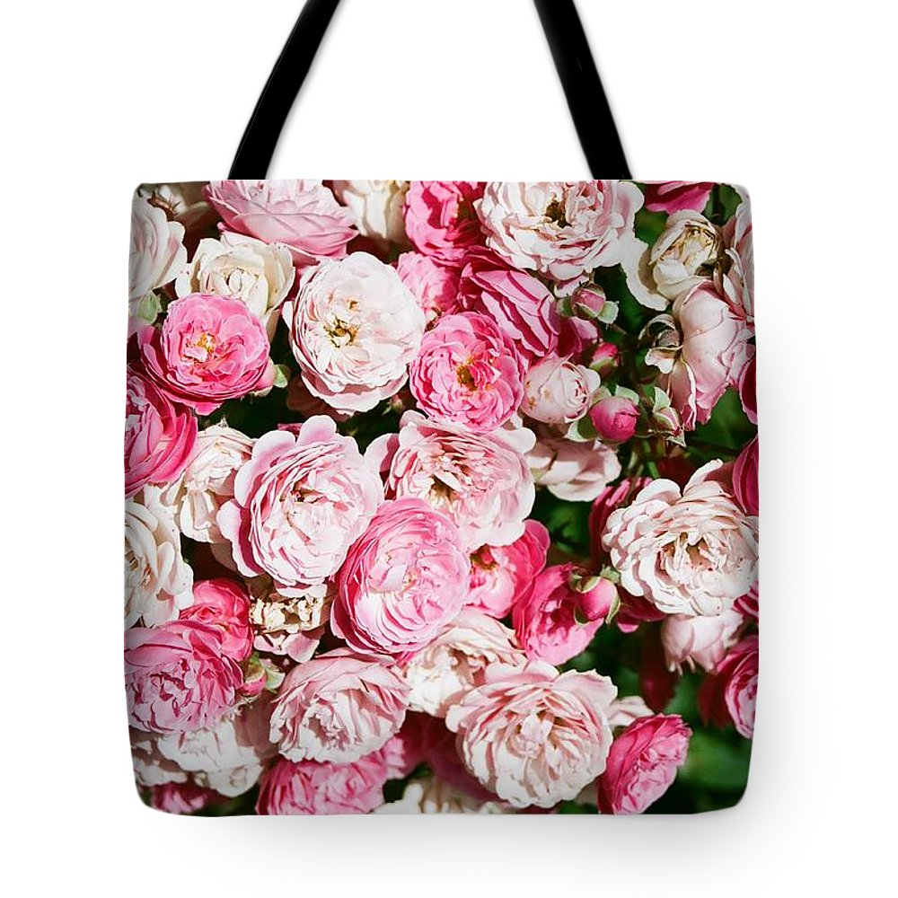 Rose Tote Bag featuring the photograph Cluster Of Roses by Dean Triolo