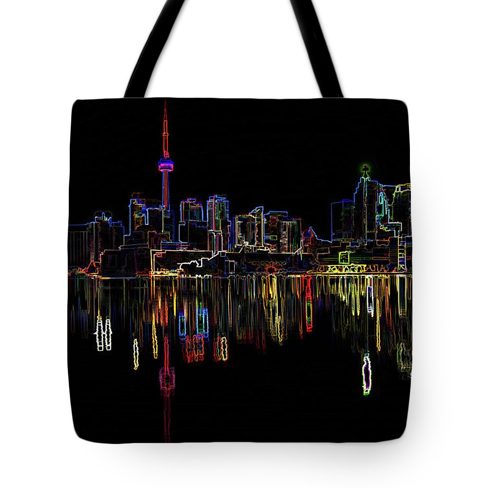 Canada Tote Bag featuring the digital art Cn Tower Outline by Roy Pedersen