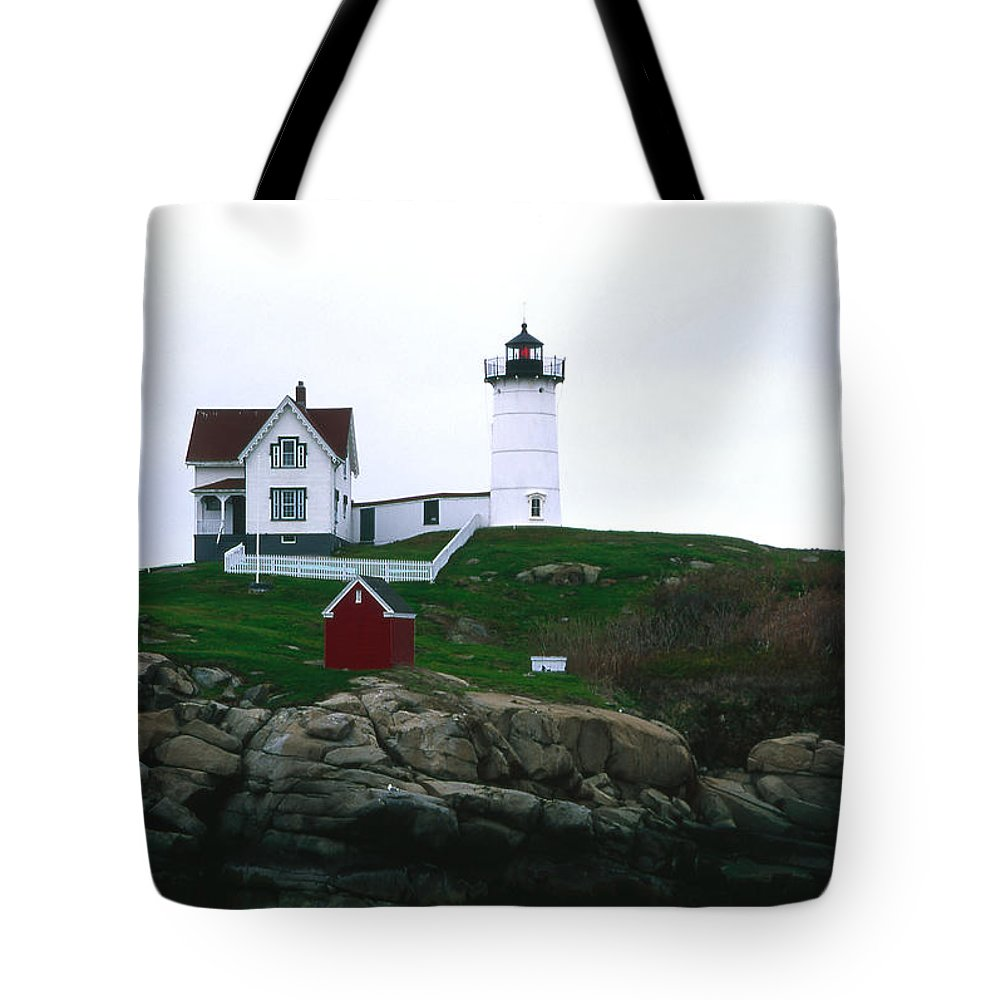 Landscape Lighthouse Nautical New England Nubble Light Cape Neddick Tote Bag featuring the photograph Cnrf0502 by Henry Butz