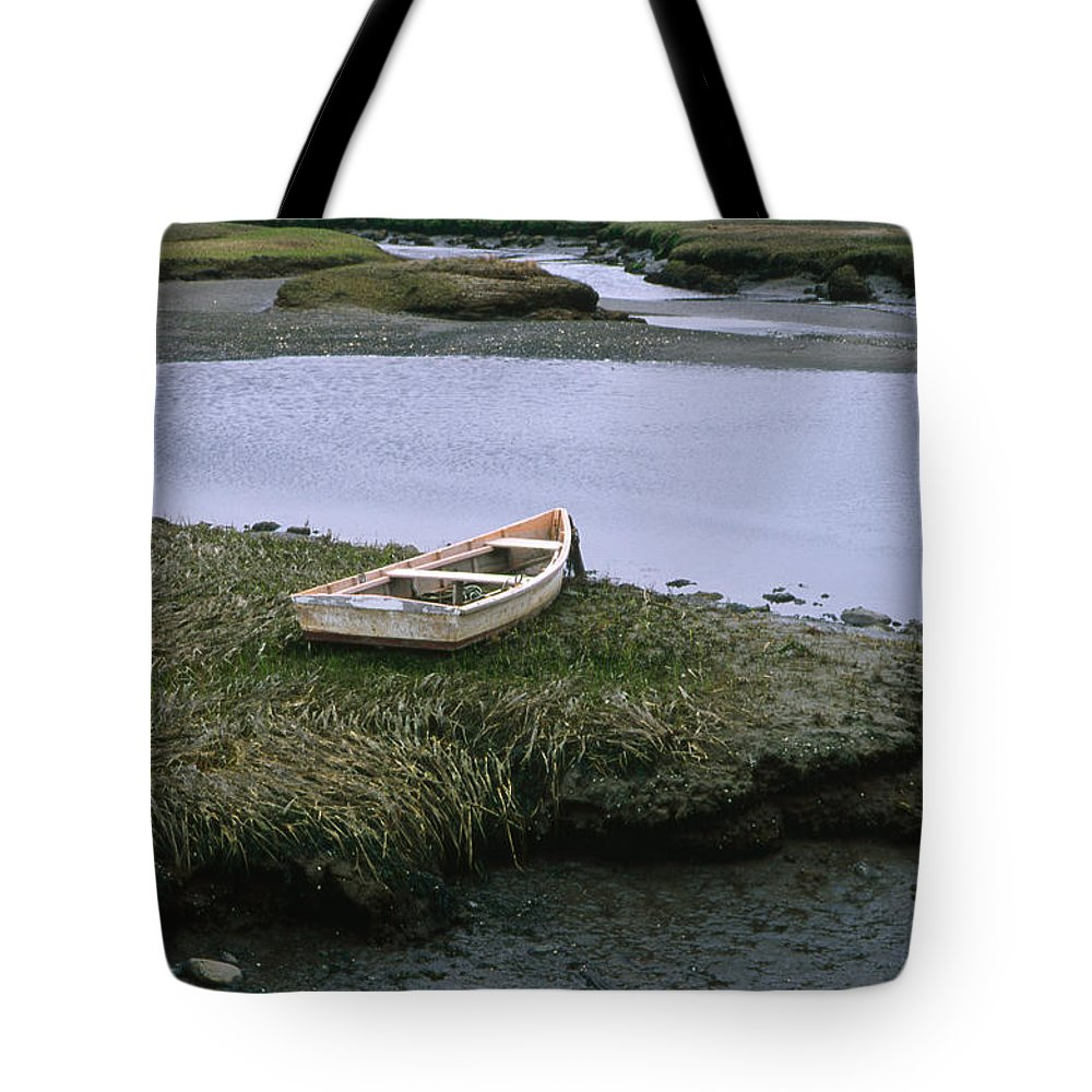 Landscape New England Marsh Row Boat Rye Harbor Tote Bag featuring the photograph Cnrf0503 by Henry Butz