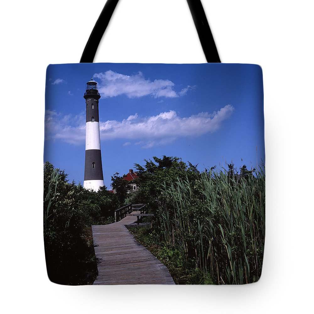Landscape Lighthouse Fire Island Tote Bag featuring the photograph Cnrf0702 by Henry Butz