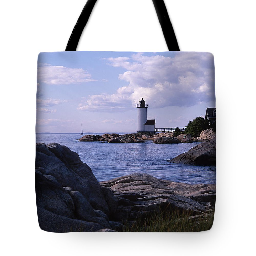 Landscape Lighthouse New England Annisquam Harbor Light Gloucester Tote Bag featuring the photograph Cnrf0903 by Henry Butz