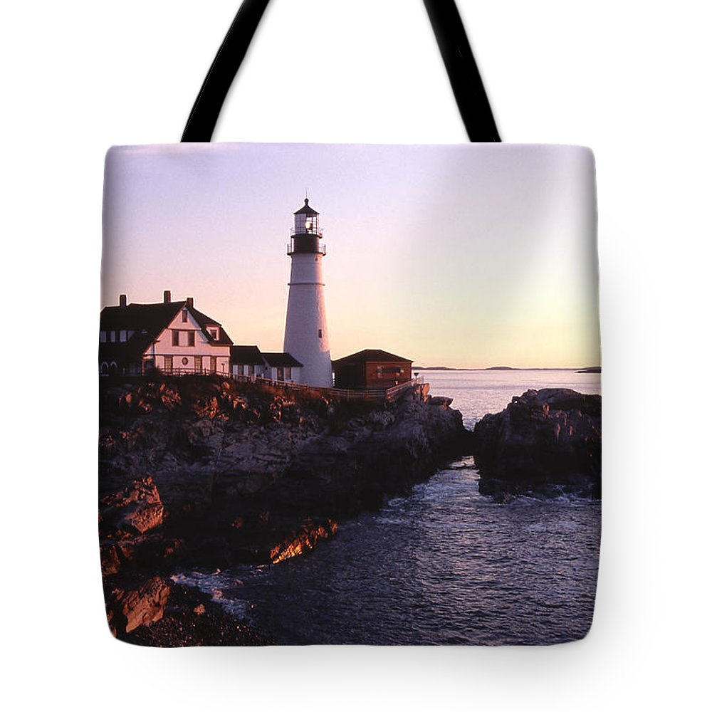 Landscape Lighthouse Nautical New England Portland Head Light Cape Elizabeth Tote Bag featuring the photograph Cnrf0904 by Henry Butz