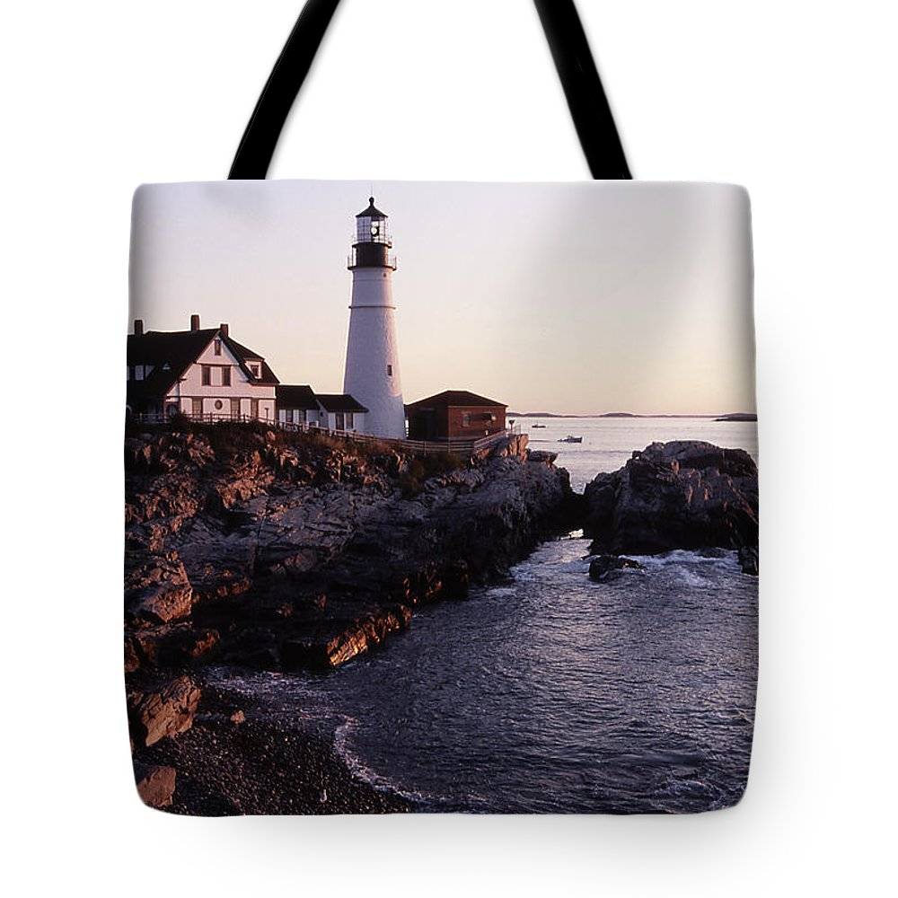 Landscape Lighthouse Nautical New England Portland Head Light Cape Elizabeth Tote Bag featuring the photograph Cnrf0905 by Henry Butz