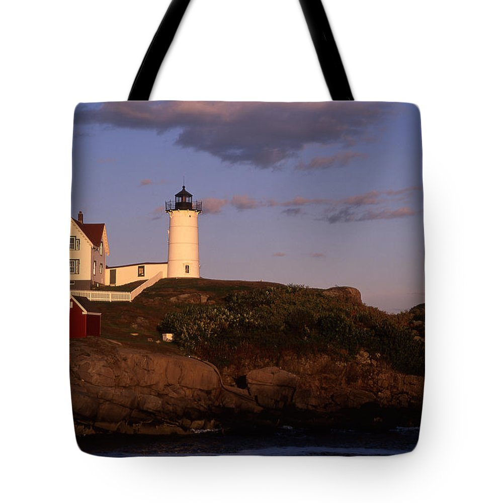 Landscape New England Lighthouse Nautical Coast Tote Bag featuring the photograph Cnrf0908 by Henry Butz