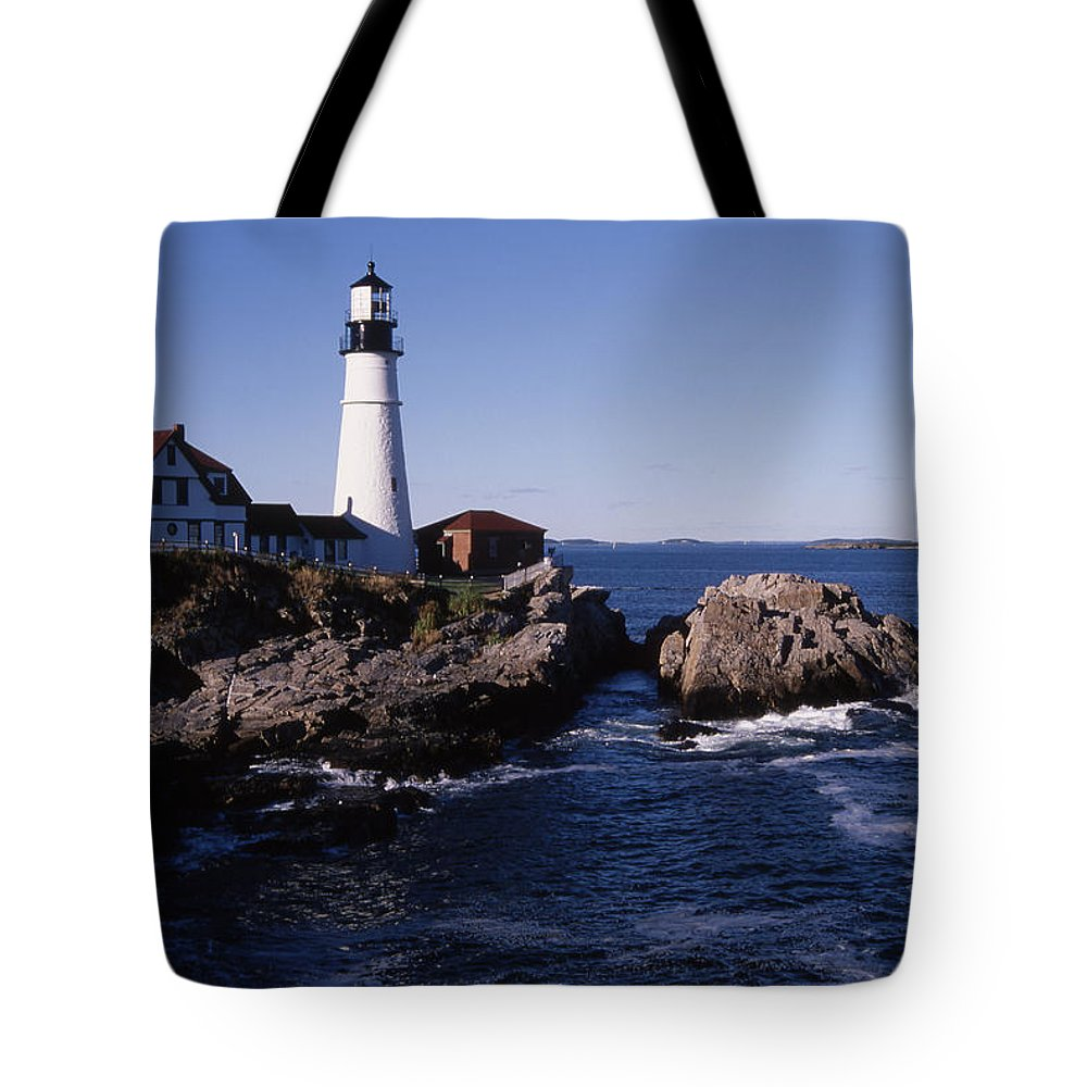 Landscape New England Lighthouse Nautical Coast Tote Bag featuring the photograph Cnrf0910 by Henry Butz