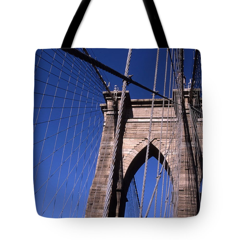 Landscape Brooklyn Bridge New York City Tote Bag featuring the photograph Cnrg0406 by Henry Butz