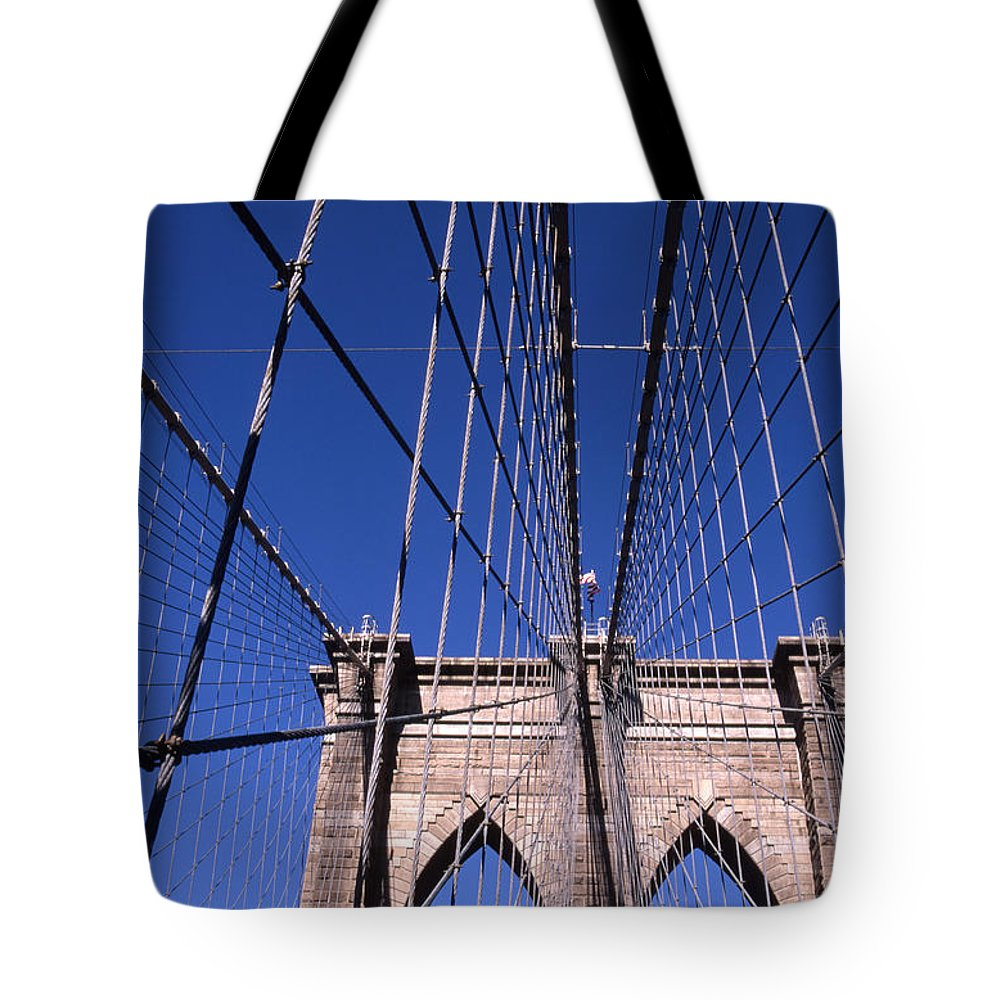 Landscape Brooklyn Bridge New York City Tote Bag featuring the photograph Cnrg0407 by Henry Butz