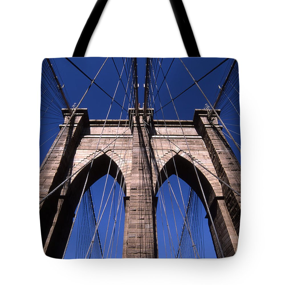 Landscape Brooklyn Bridge New York City Tote Bag featuring the photograph Cnrg0409 by Henry Butz
