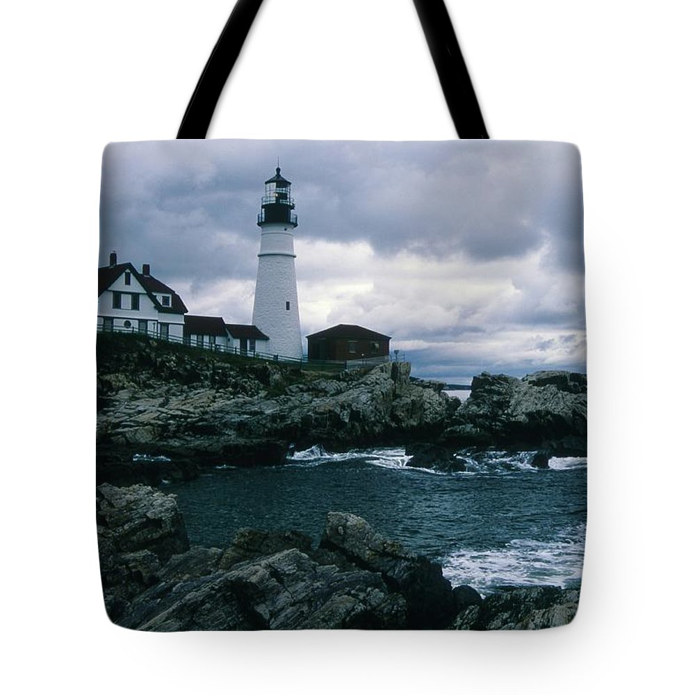 Landscape New England Lighthouse Nautical Storm Coast Tote Bag featuring the photograph Cnrg0601 by Henry Butz