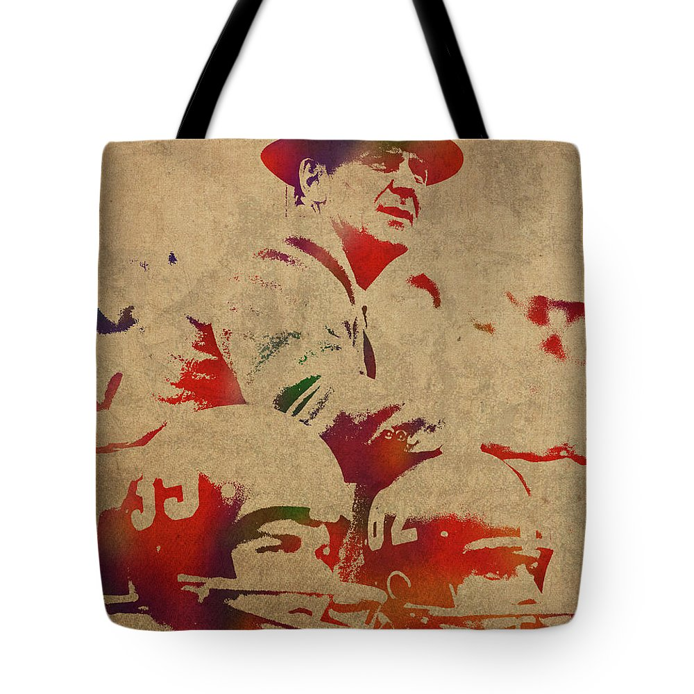 Coach Tote Bag featuring the mixed media Coach Bear Bryant Watercolor Portrait by Design Turnpike