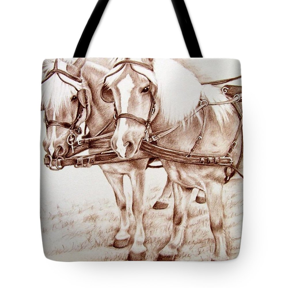 Horses Tote Bag featuring the drawing Coach Horses by Nicole Zeug