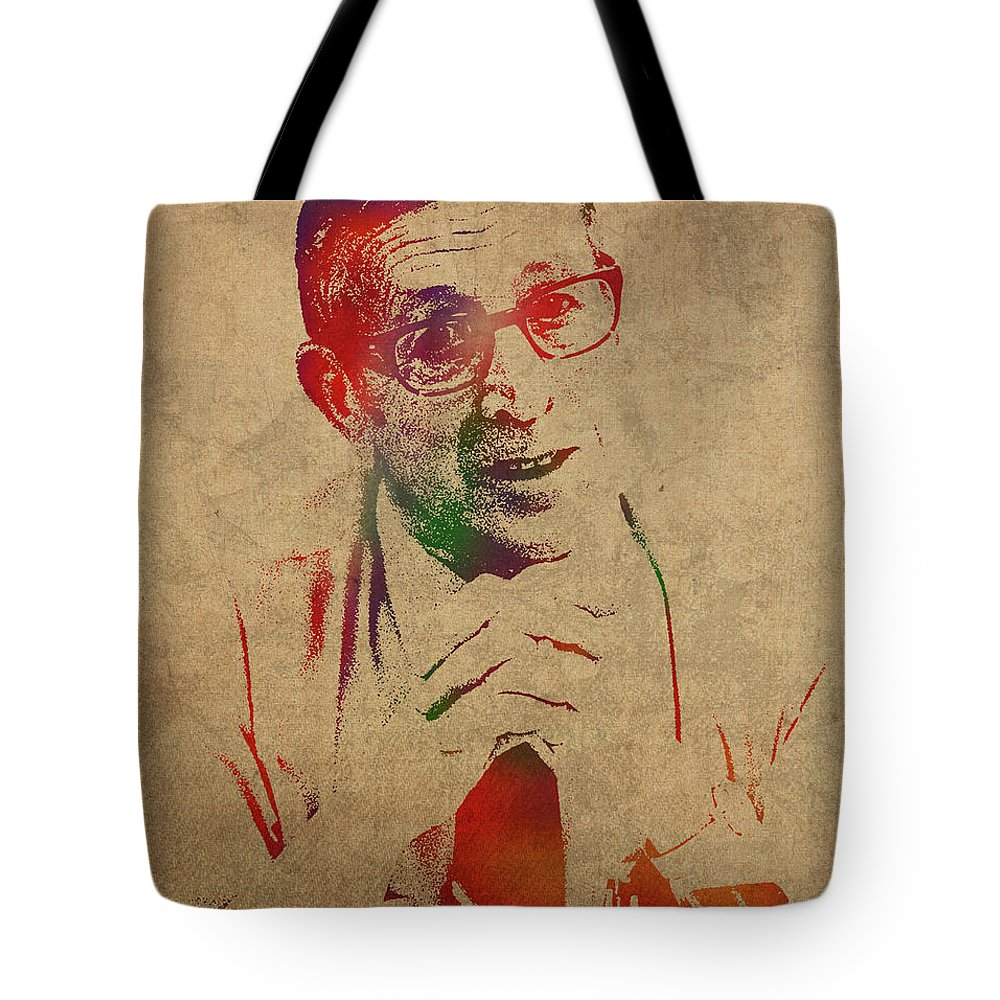 Coach Tote Bag featuring the mixed media Coach John Wooden Watercolor Portrait by Design Turnpike