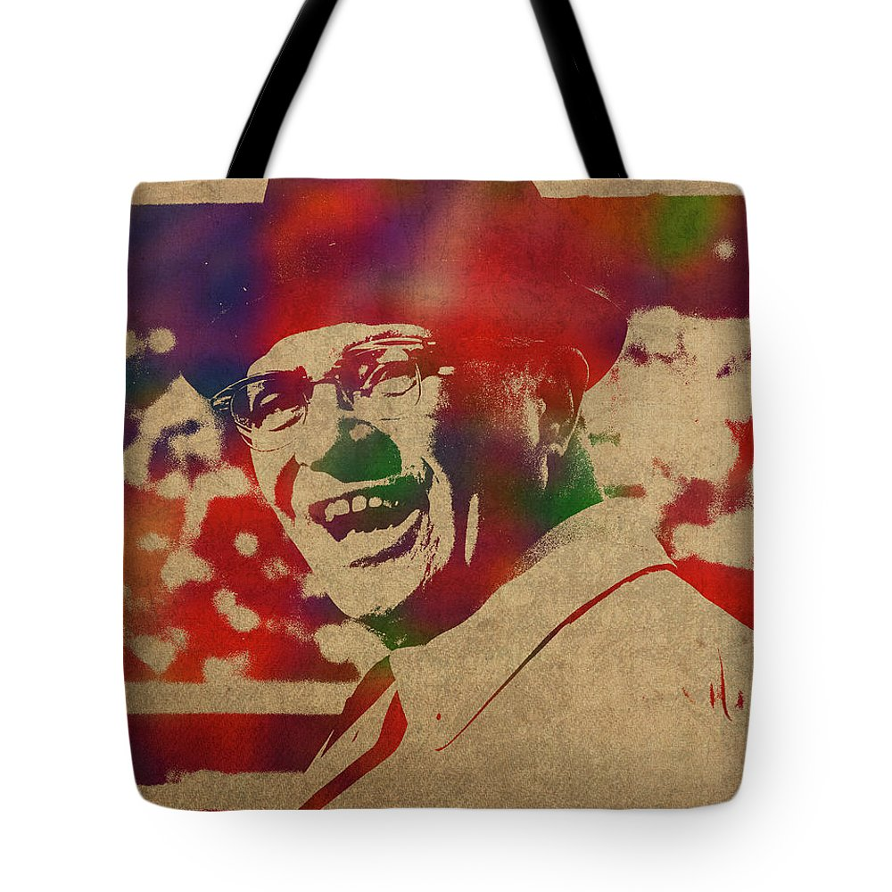 Coach Tote Bag featuring the mixed media Coach Vince Lombardi Watercolor Portrait by Design Turnpike