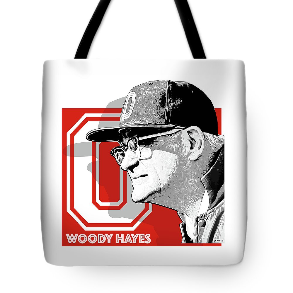 Woody Hayes Tote Bag featuring the digital art Coach Woody Hayes by Greg Joens