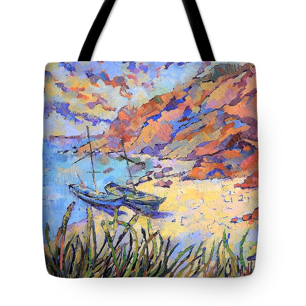 Seascape Tote Bag featuring the painting Coastal Light by Annika Zalmover
