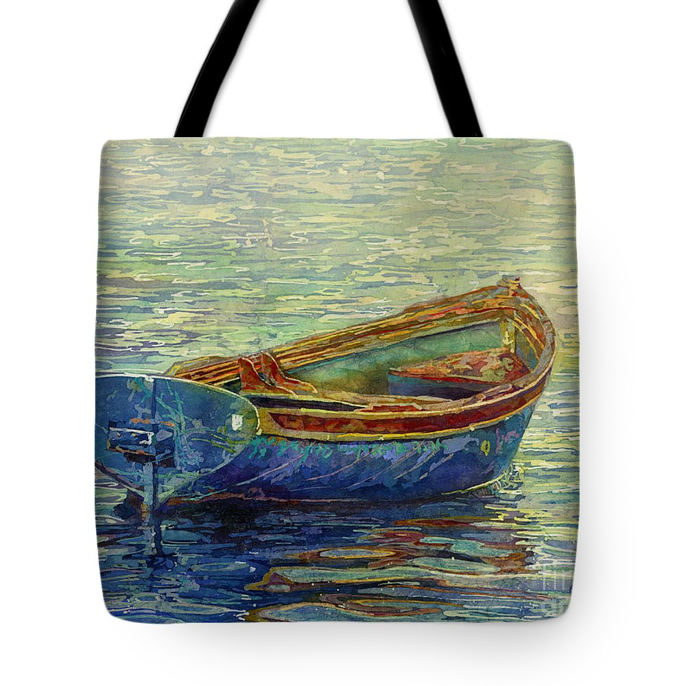 Rowboat Tote Bag featuring the painting Coastal Lullaby by Hailey E Herrera