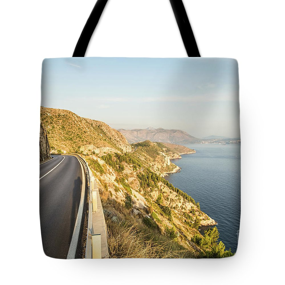 Coastline Tote Bag featuring the photograph Coastal Road Near Dubrovnik In Croatia by Didier Marti