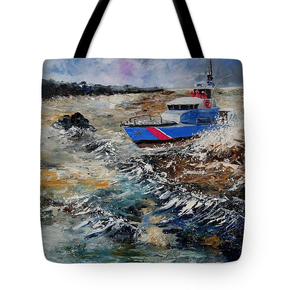 Sea Tote Bag featuring the painting Coastguards by Pol Ledent