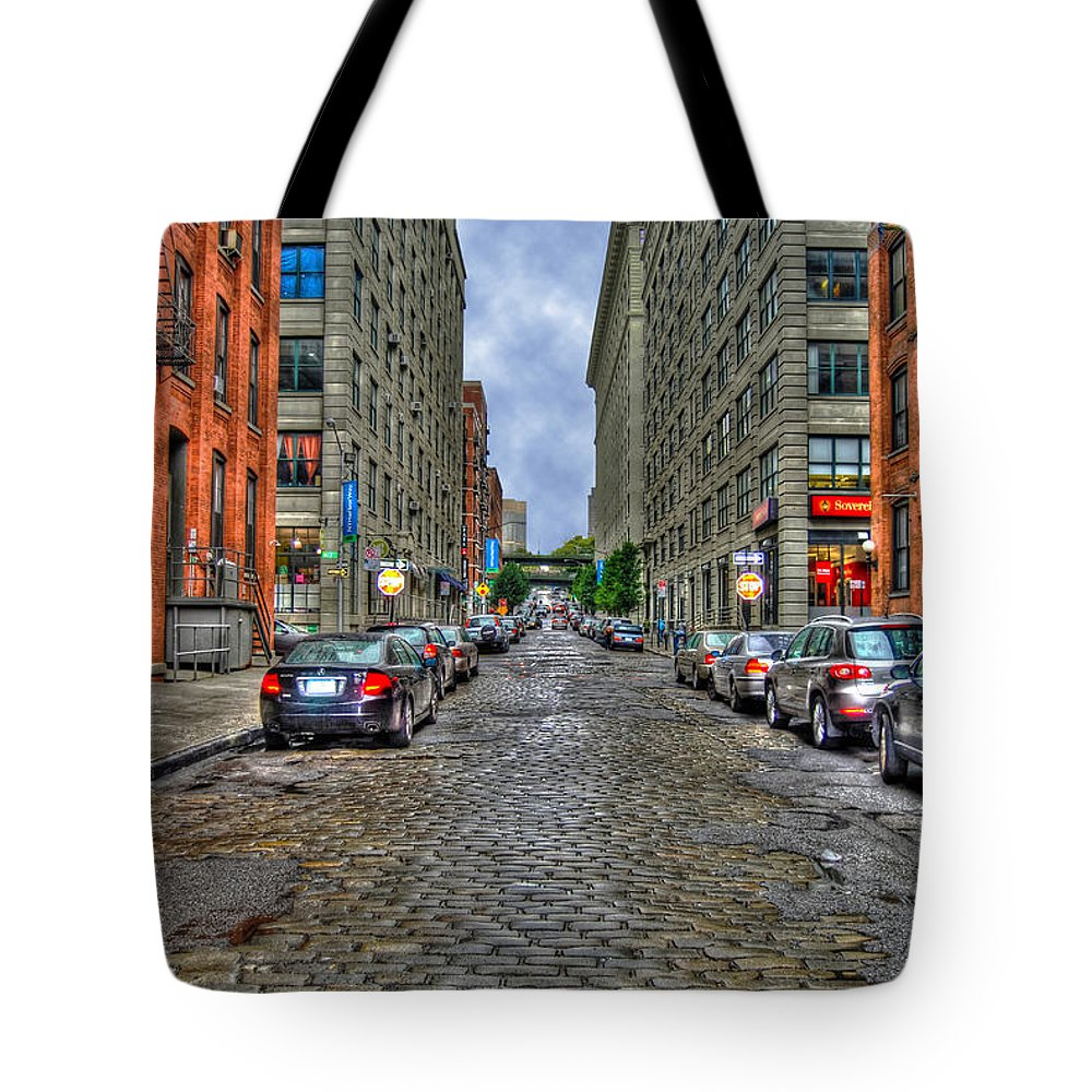 Cobblestone Tote Bag featuring the photograph Cobblestone Brooklyn From Dumbo by Randy Aveille