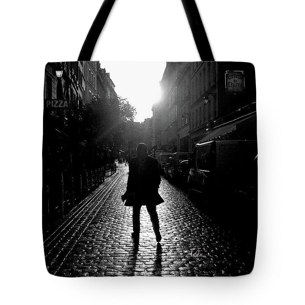 Paris Tote Bag featuring the photograph Cobblestone Path Home Paris Bw by Felipe Adan Lerma
