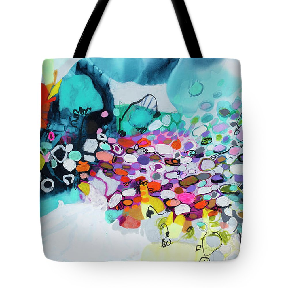 Abstract Tote Bag featuring the painting Cobblestones Of San Miguel by Claire Desjardins