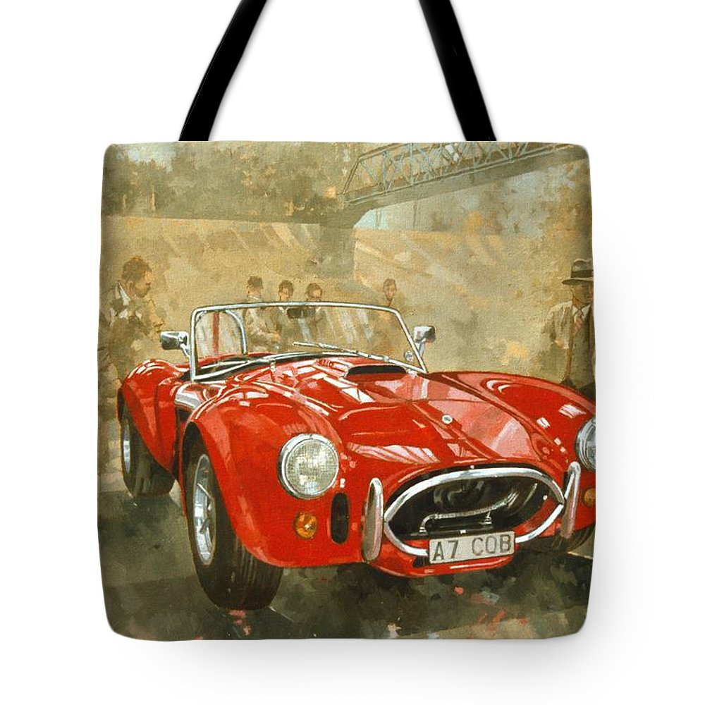 Sports Car; Race Car; Vehicle; Racing; Driver; Track; Racetrack; Race Track; Vintage; Racer; Red; Cobra; Brooklands; Old Timer Tote Bag featuring the painting Cobra At Brooklands by Peter Miller