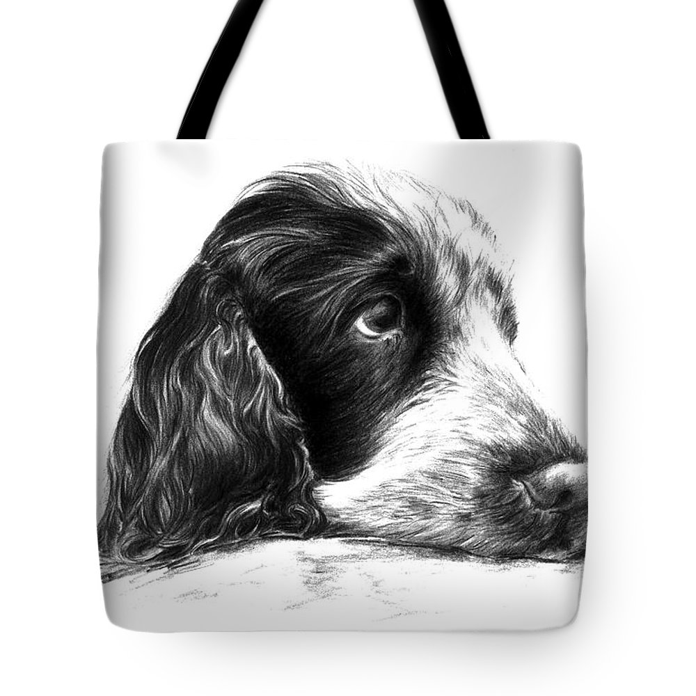 Cocker Spaniel Tote Bag featuring the drawing Cocker Norbu Tibet by Renata Clare