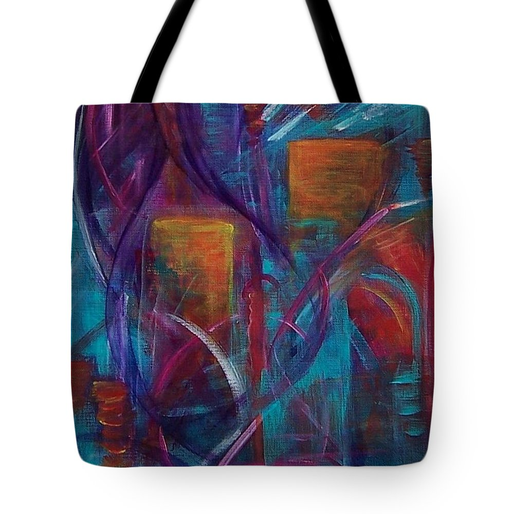 Abstract Tote Bag featuring the painting Cocktails For Two by Karen Day-Vath