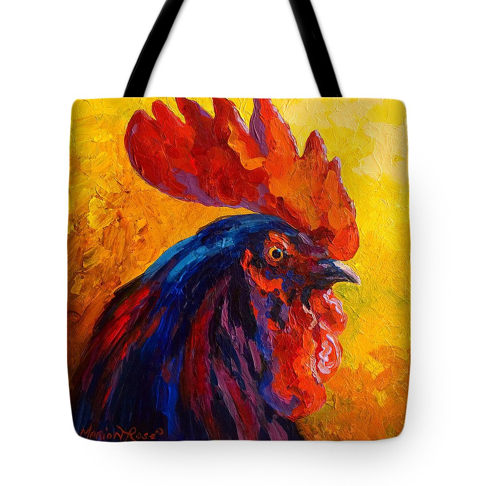 Rooster Tote Bag featuring the painting Cocky - Rooster by Marion Rose