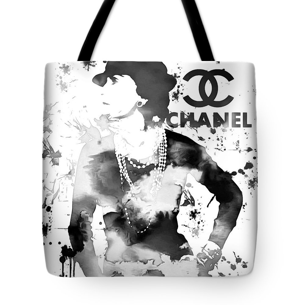 ef67068e19b Coco Chanel Grunge Tote Bag featuring the painting Coco Chanel Grunge by Dan  Sproul