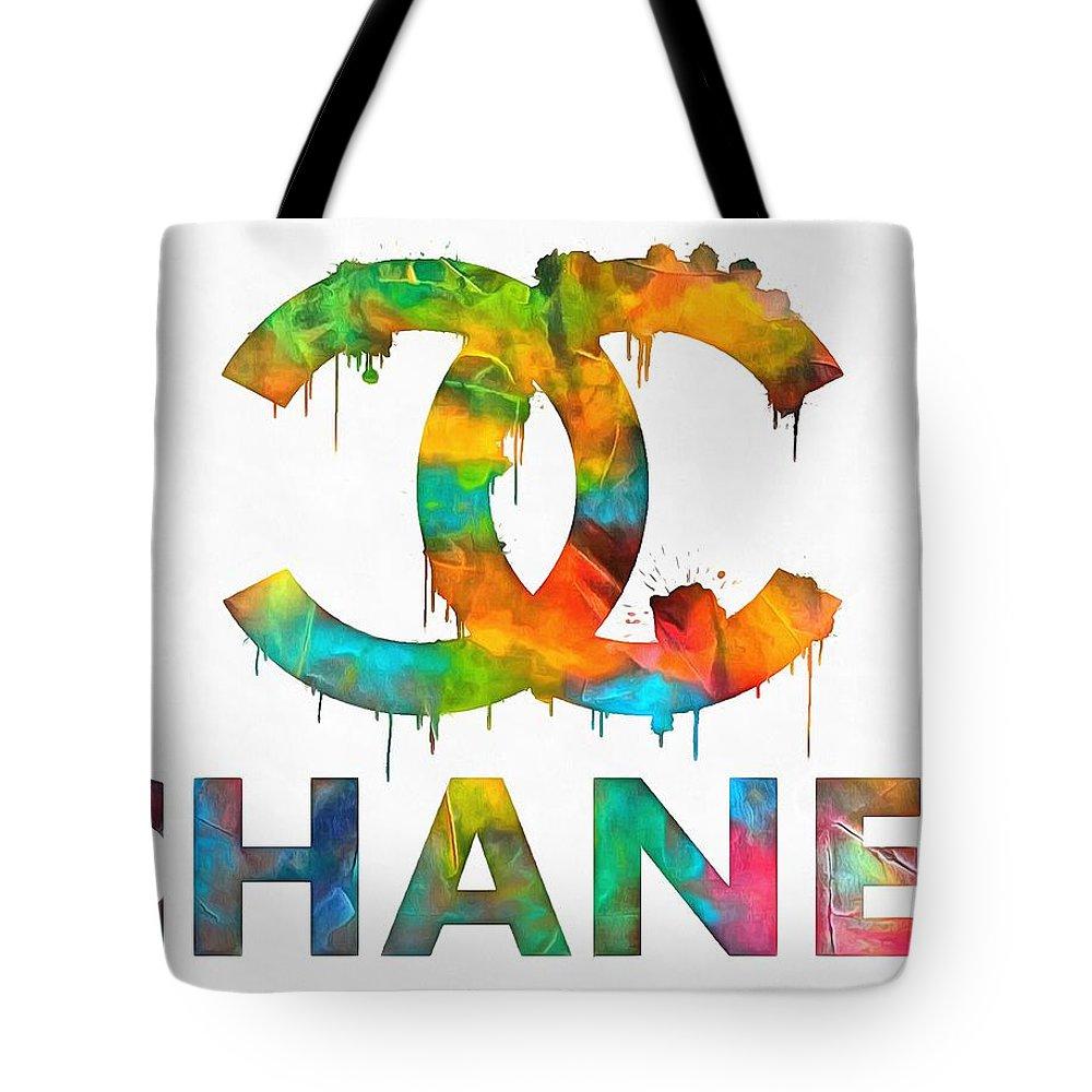 c702e03e915 Coco Chanel Paint Splatter Color Tote Bag featuring the painting Coco Chanel  Paint Splatter Color by