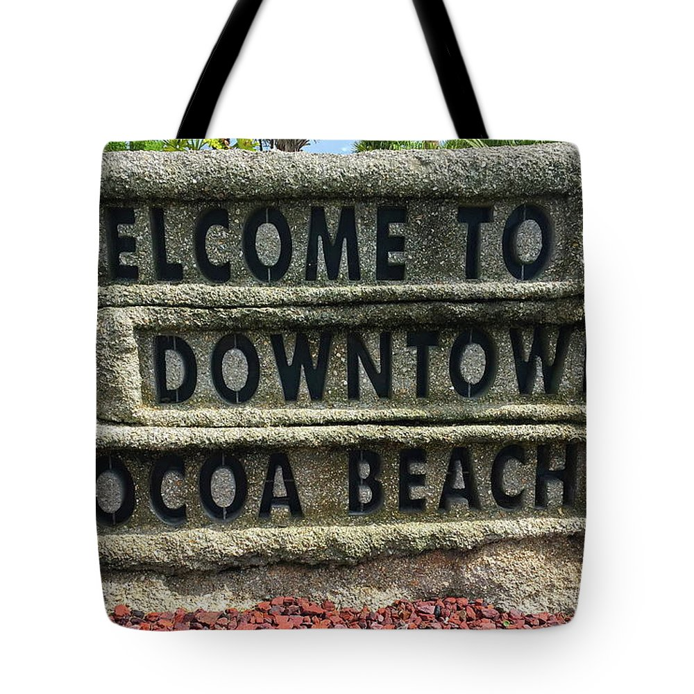 Cocoa Tote Bag featuring the photograph Cocoa Beach Welcome Sign by Denise Mazzocco