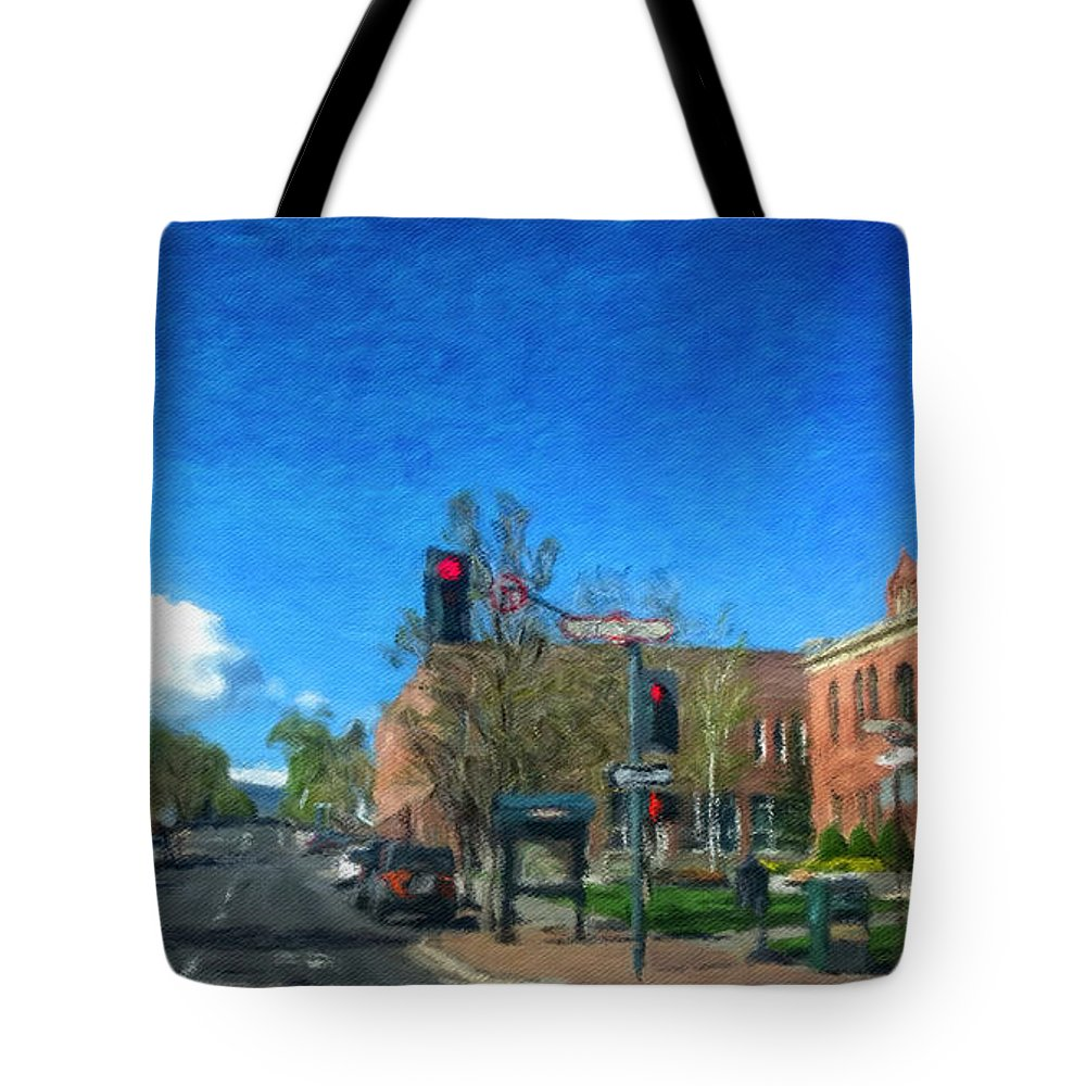 Flagstaff Tote Bag featuring the photograph Coconino County Courthouse by Jim Thomas