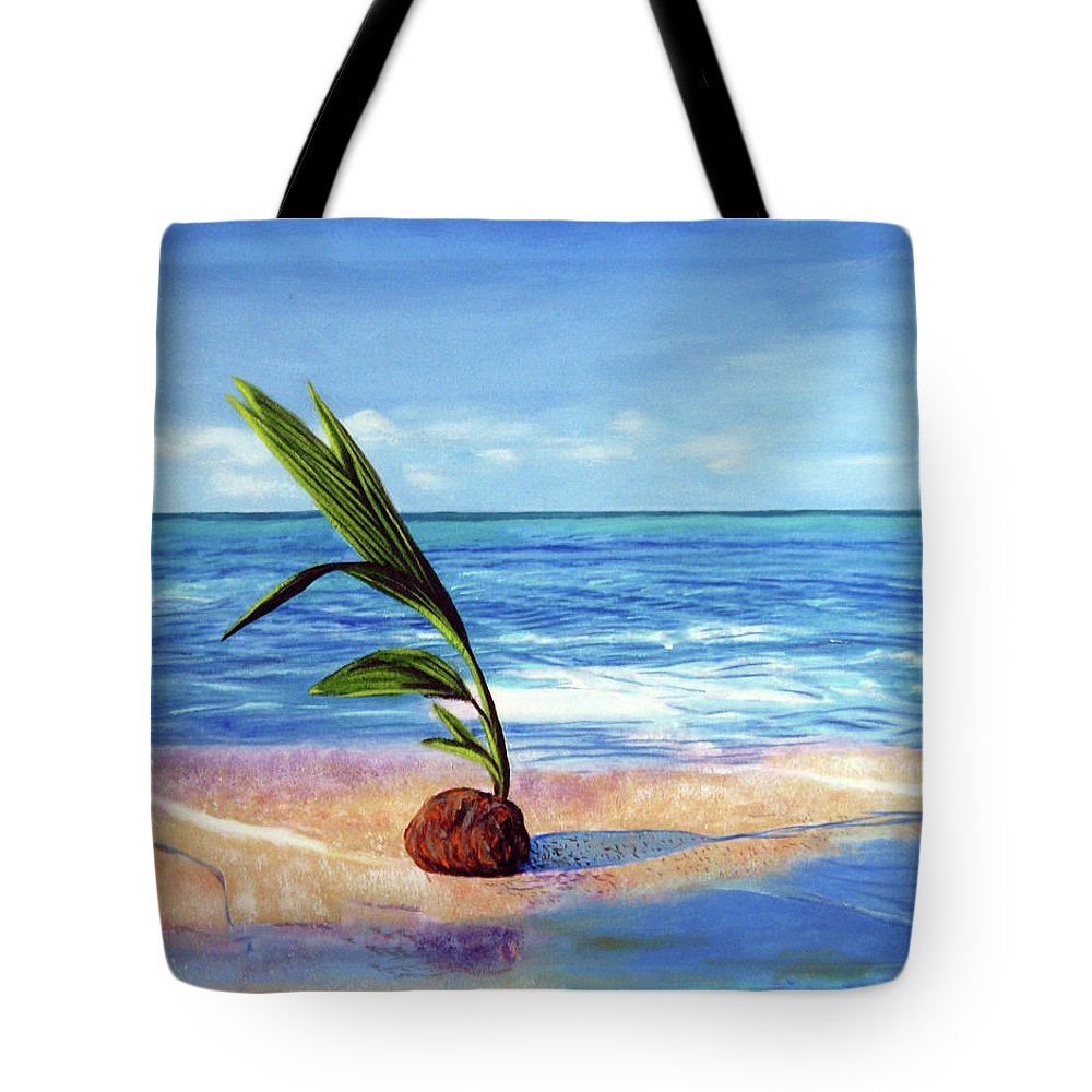 Ocean Tote Bag featuring the painting Coconut on beach by Jose Manuel Abraham