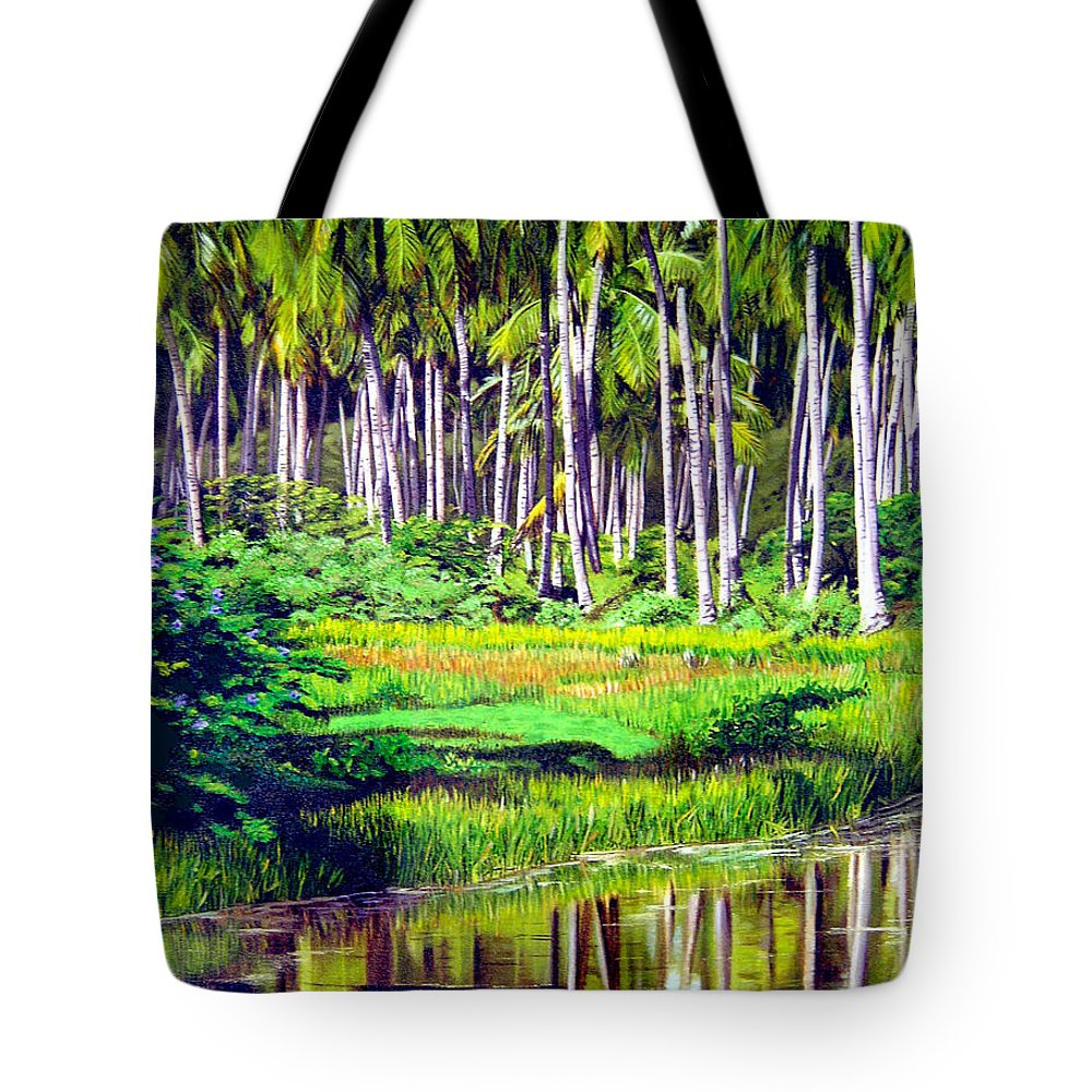 Coconuts Water River Green Art Tropical Tote Bag featuring the painting Coconuts Trees by Jose Manuel Abraham