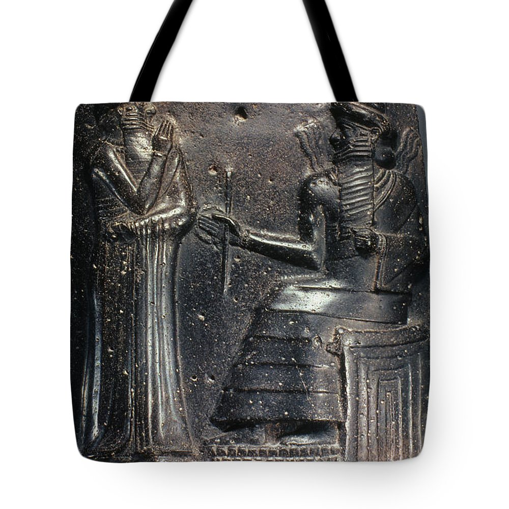18th Century B.c. Tote Bag featuring the photograph Code Of Hammurabi (detail) by Granger