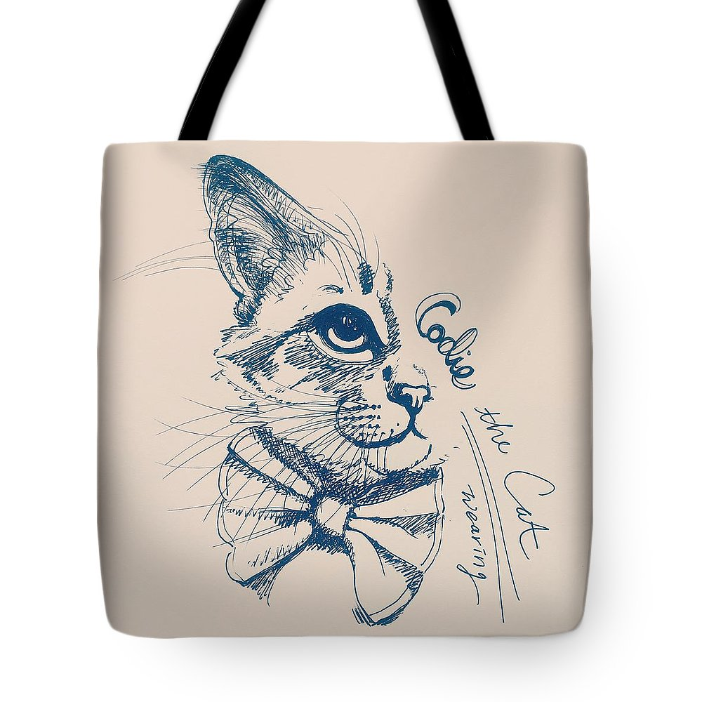 Cat Tote Bag featuring the drawing Codie, Wearing A Bow Tie by Pookie Pet Portraits