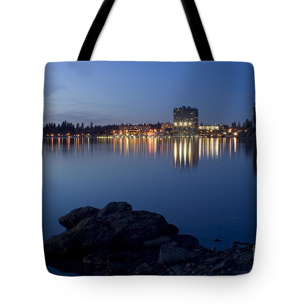 Skyline Tote Bag featuring the photograph Coeur D Alene Skyline Night by Idaho Scenic Images Linda Lantzy