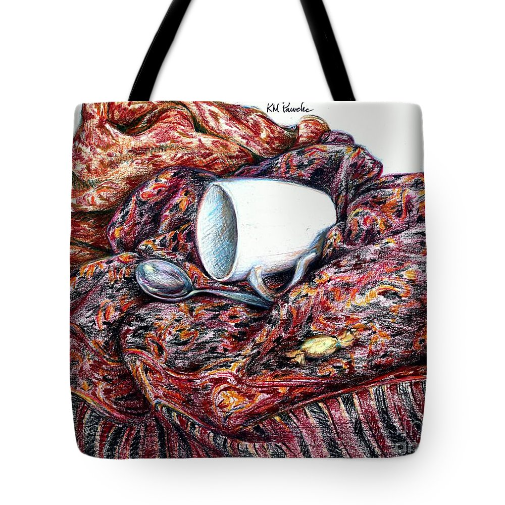 Coffee Tote Bag featuring the drawing Coffee And Cashmere by K M Pawelec