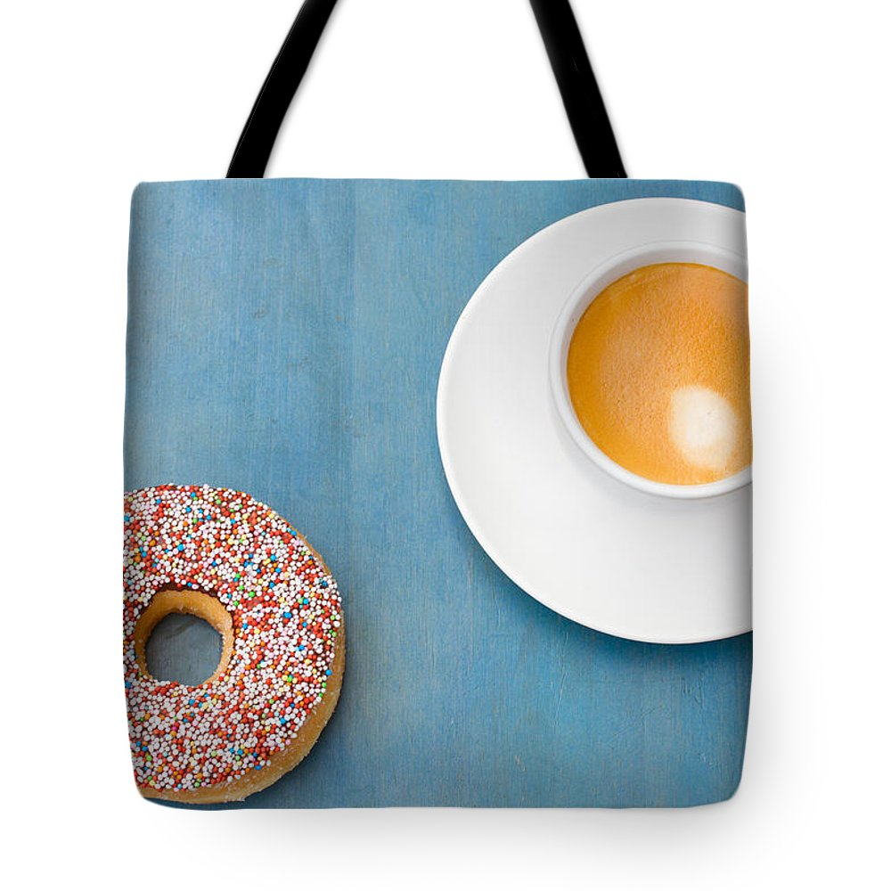 Coffee Tote Bag featuring the photograph Coffee And Donut by Anastasy Yarmolovich