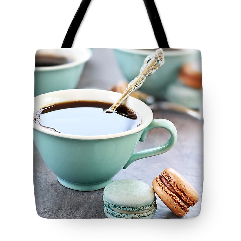 Macaron Tote Bag featuring the photograph Coffee And Macarons by Stephanie Frey